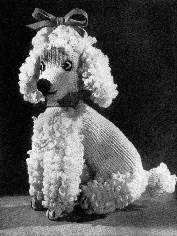 Items similar to Vintage Knitting Pattern - Poodle Dog Toy ...