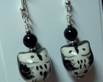 Porcelain Owl Bird Earrings Black and White on Silver   What a Hoot