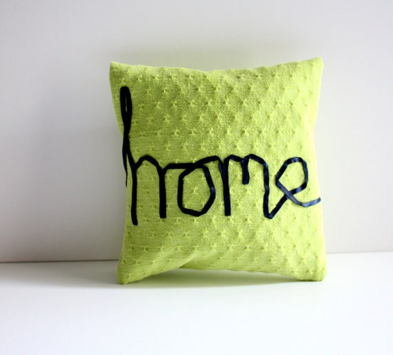 Home word pillow lime green cushion cotton navy ribbon lettering typography memake handmade home decor