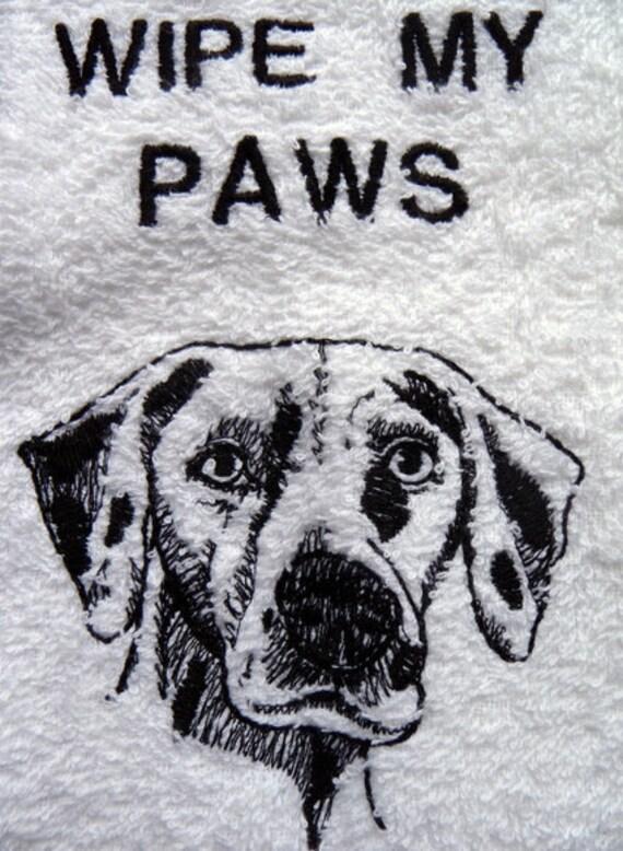 Dalmatian  Wipe My Paws White Bath Hand Towel