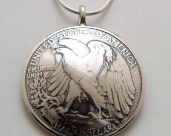 Silver Eagle Pendant Made from Vintage US Silver Liberty Half Dollar Coin