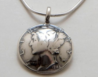 Silver Pendant Made from Vintage US Silver Mercury Dime Coin