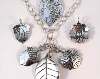 Coin Necklace Sunflower Leaf Acorn Pendants made from 3 Vintage American Silver Coins Quarters Dollar
