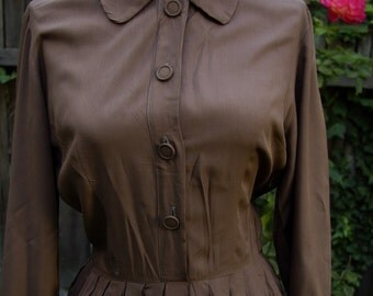 CHOCOLATE 1950's 60's Vintage Dark Brown Button Down Dress by Jerry Gilden // size Small