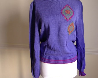 Diamond 1970's 80's Retro Blueberry Sweater with Fitted Waist
