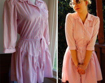 SWEET & Sassy 1980's Vintage Light Pink Jumper Dress by Bill Berman California size Small