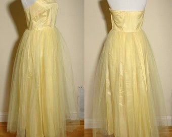 Canary in a Coal Mine Vintage 1950's 60's Strapless Yellow Tulle Prom Dress