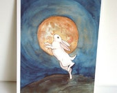Bunny and the Full Moon - Archival Fine Art Print