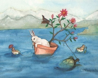 Fine Art Rabbit Print - Crossing the Lake - Large Size