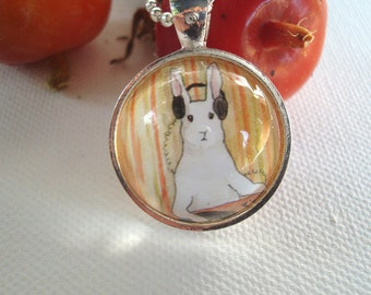 I am the DJ  -  Round  Rabbit  Pendant
