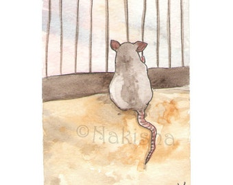 The BlueDogRose Tarot - Original Art - Five of  Rodents