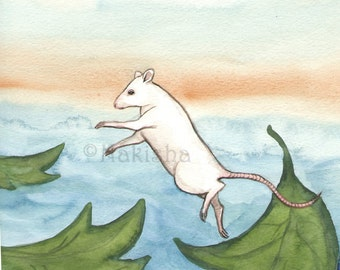 Original Watercolor Painting - Leaping White Mouse