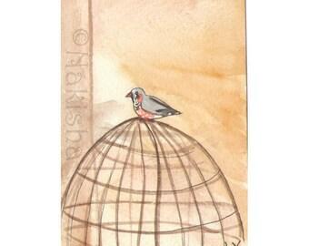 The BlueDogRose Tarot - Original Art - Nine of  Birds