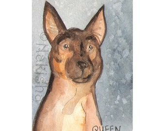 The BlueDogRose Tarot - Original Art -  Queen of Dogs