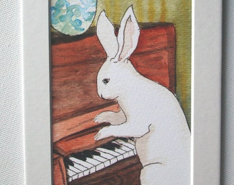 Rabbit Playing the Piano- Small Archival Fine Art Print