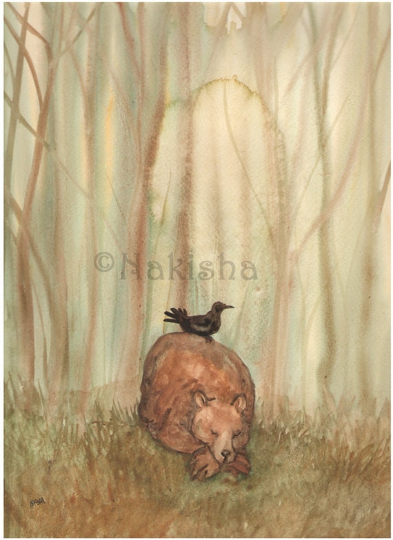 Asleep in the Woods - Original Watercolor Animal Painting