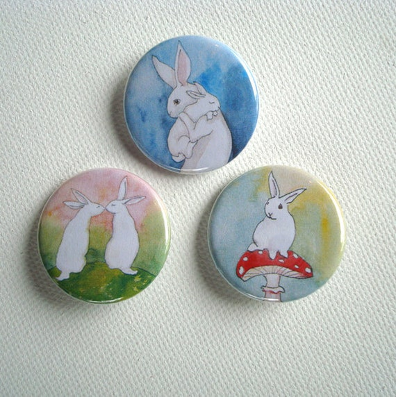 Set of Three 1.25 inch Pinback Buttons - Bunny Rabbits
