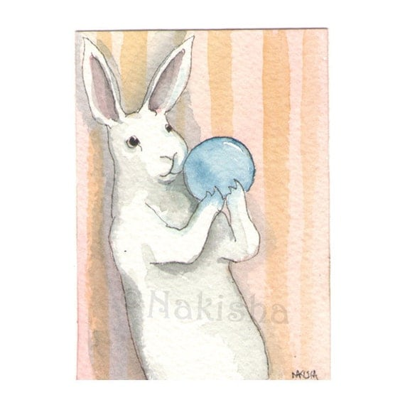 Original Watercolor Rabbit Painting - Blue Orb - ACEO