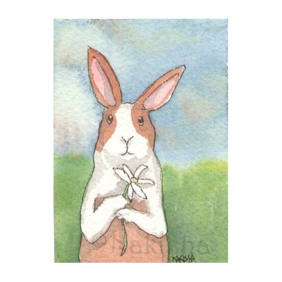 Original Watercolor Rabbit Painting - Dutch with Daisy - ACEO