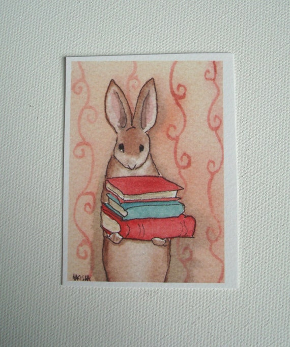 Library Bunny - ACEO Sized Archival Print