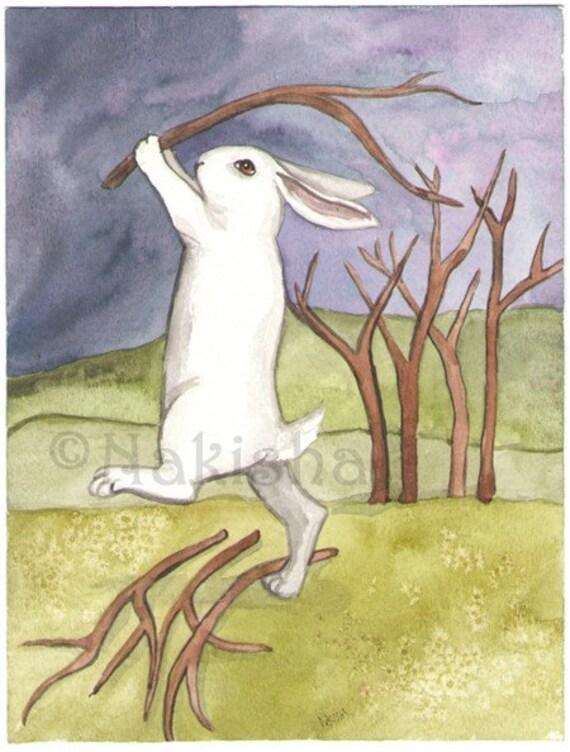 RESERVED for LS - The Rabbit Tarot - Original Art - Eight of Sticks