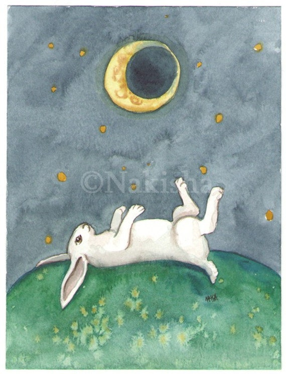 The Moon- The Rabbit Tarot - Limited Edition Fine Art Print - SALE