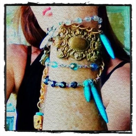 rosary wrap necklace/bracelet, vintage religious, turquoise spikes, extra long