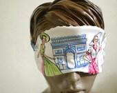 Paris Sleep Mask Retro 1950s Tourist  Kitsch Black White Stripe Handmade Cotton Sleepmask