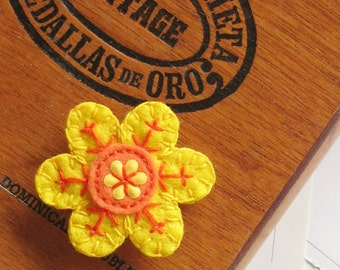 Sunny Yellow Flower felt pin
