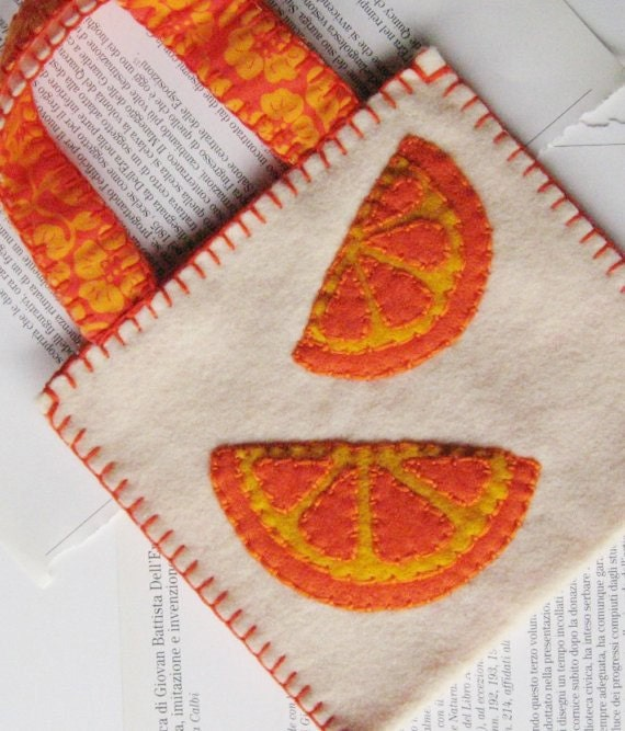 I Can't Love Oranges In Slices felt purse