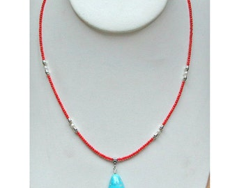 Real fine Italian Coral Necklace with Sleeping Beauty Turquoise Pendant