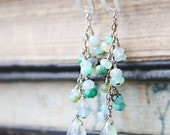 gemstone earrings peruvian opal blue green organic sterling silver post spring fashion