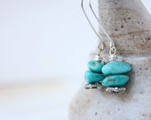 turquoise earrings, sterling silver stone jewelry,  December birthday, long chunky organic simple boho beach