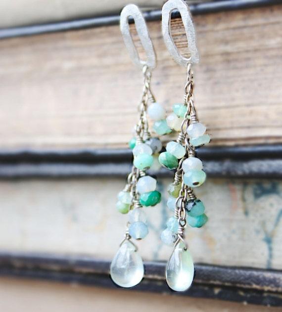 gemstone earrings peruvian opal blue green organic sterling silver post spring fashion