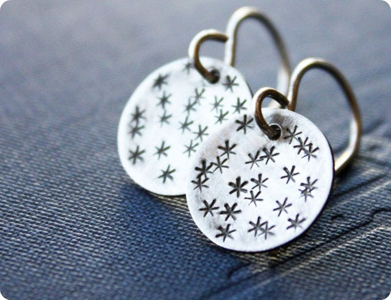 silver star earrings, sterling silver earrings, cosmic constellation jewelry, gift for teens