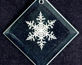 Etched Glass Ornament - Snowflake 2 - Personalized Glass Christmas Ornament