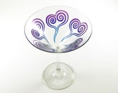 Spiral Hearts Martini Glass - Etched and Painted Glassware - Personalized Custom Barware
