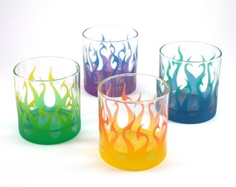 Tribal Flames - Lowball Tumbler Glasses - Set of 4 - Etched and Painted Glassware - Custom Made to Order