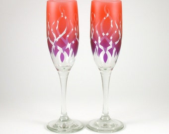 Strands - Champagne Flutes - Clear Style - Etched and Painted Glassware - Custom Made to Order