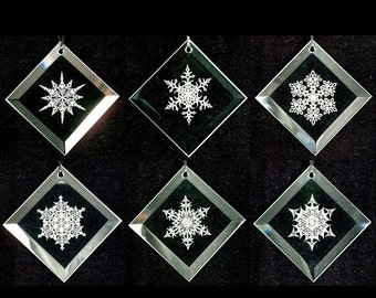 Snowflake Ornaments - Set of 6 - Snowflake Series 1 - Etched Beveled Glass Ornaments - Ready to Ship