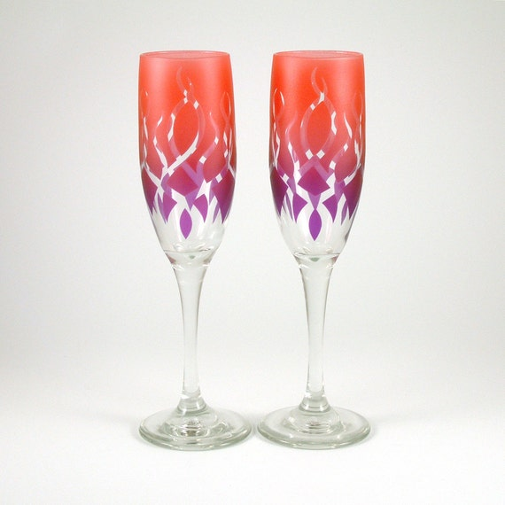 Strands Champagne Flutes - Custom Painted Glassware - Personalized Stemware