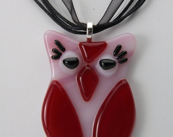 The Little Owl fused glass ornament / Pendant 1.5 x 2.5 inches pink and red