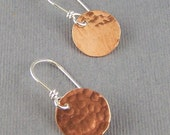Hammered Copper Bitty Circle Earrings