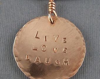 Copper LIVE LOVE LAUGH Circle Pendant