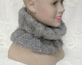 Grey cowl knit with hints of apricot mohair blend yarn, ribbed neck warmer, women's cowl, men's cowl, knit cowl, gray cowl, bulky knit cowl