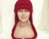 Cranberry red ear flap hat, trapper cap, aviator cap, women's hat, men's hat, garnet, ruby, crimson, red hat, toque, knit hat, winter hat