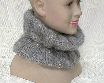Grey ribbed knit cowl, circle scarf, ribbed neck warmer, winter cowl, bulky knit cowl, mohair blend yarn, womens mens cowl, ski, grey cowl