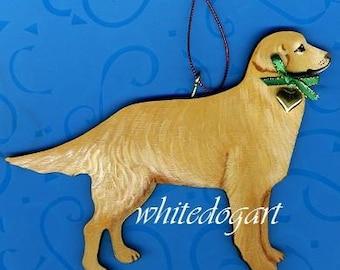 Handpainted Golden Retriever Christmas Ornament