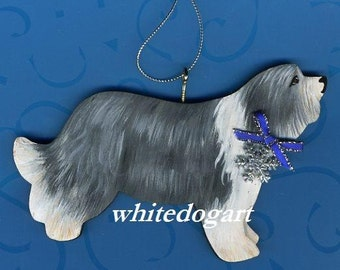 Handpainted Bearded Collie Christmas Ornament