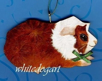 Custom Handpainted Abyssinian Guinea Pig Christmas Ornament